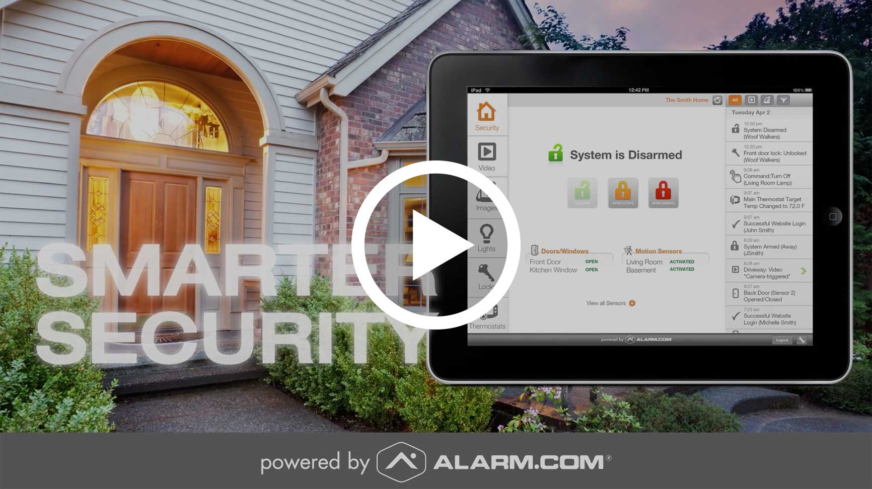 Image of Alarm.com services video.