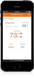 Image of iPhone with thermostat controll using Alarm.com app.